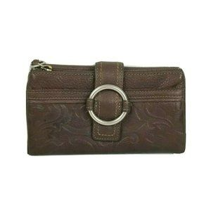 Fossil Embossed Leather Wallet Clutch Brown